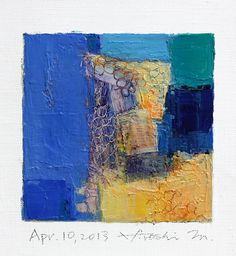 One a day! 'Apr. 10, 2013' (2013) from the '9x9 painting' series by Japanese abstract painter Hiroshi Matsumoto (b.1953). Oil on canvas, 9 x 9 cm.