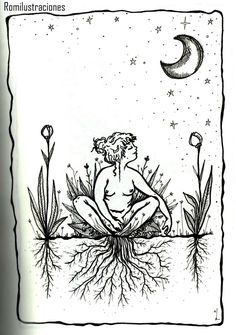 Witchy artwork of grounding or rooting to the earth Illustrations, Illustration Art, Feminist Art, Feminist Tattoo, Sacred Feminine, Witch Art, Renoir, Art Inspo, Art Drawings