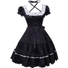Partiss Women's Cotton Black Lace Cosplay Lolita Dress (75 CAD) ❤ liked on Polyvore featuring dresses, lace dresses, cotton day dress, lacy dress, cotton lace dress and cotton dress