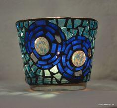Windlicht blauer Kreis 8 cm hoch - Mosaikkasten