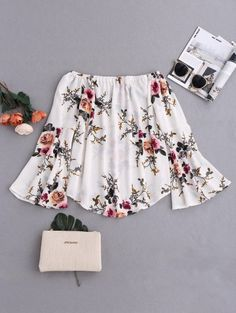 SHARE & Get it FREE   Floral Flare Sleeve Off Shoulder Blouse - WhiteFor Fashion Lovers only:80,000+ Items • New Arrivals Daily Join Zaful: Get YOUR $50 NOW!