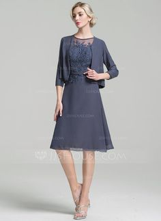 [US$ 139.99] A-Line/Princess Scoop Neck Knee-Length Chiffon Mother of the Bride Dress With Beading Sequins