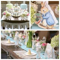 This beautiful PETER RABBIT THEMED BABY SHOWER was submitted by Fani Andriani of Chocolique. What a sweet shower! I love all of the beautiful floral arrangements in it; they're so precious! I also lov Peter Rabbit Party, Peter Rabbit Birthday, Peter Rabbit Cake, Peter Rabbit Nursery, Baby Shower Favors, Baby Shower Parties, Baby Shower Themes, Shower Ideas, Shower Party