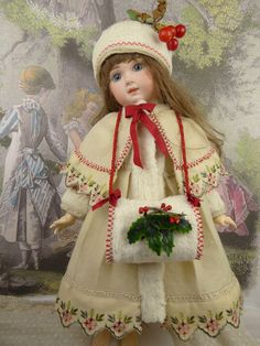 Exquisite French three-piece antique dolls Christmas ensemble for Jumeau, Bru, Steiner, Gaultier or another Bébé