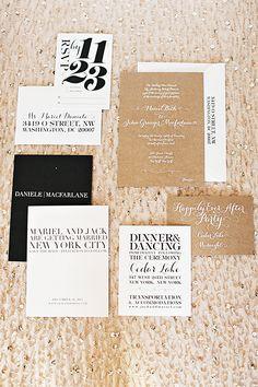 A glamorous gold wedding invitation suite for a late December wedding | @aliciaswedenbrg | Brides.com