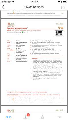 Grandma's tomato sauce 21 Day Fix Fixate, 21 Day Fixate Recipes, 21 Day Fix Menu, 21 Day Fix Diet, Fixate Cookbook, Cookbook Recipes, Autumn 21 Day Fix, 21 Fix, Fit And Fix