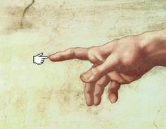 "AWESOME! MODERN MEETS OLD WORLD ART with Michelangelo's ""The Creation of Adam"" meets MODERN Techies liiike US?!  SUPER KOOL! /B)"