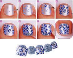 nail art by osesia tutorials Pedicure Nail Art, Toe Nail Art, Diy Nails, Blue Pedicure, Toe Nail Designs, Nail Polish Designs, Polish Nails, Art Designs, Fancy Nails