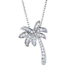 Lina's CZ California Palm Tree Necklace - Silvertone