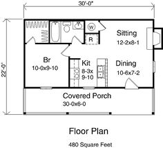 Cottage Style House Plan - 1 Beds 1 Baths 480 Sq/Ft Plan #22-127 Floor Plan - Main Floor Plan - Houseplans.com