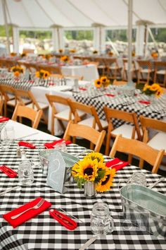 Black and White Checkered Tablecloths with Sunflowers-Perfect Casual Wedding Reception or Party