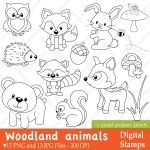 Woodland Animals Digital Stamps