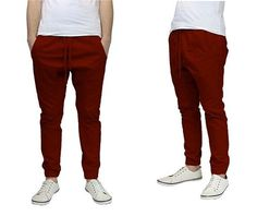 1224175fc2cb Galaxy by Harvic Men s Slim-Fit Twill Joggers Burgundy Joggers