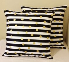 Set of 2 Black gold white stripe polka dot pillow covers shams 18 x 18 geometric #Handmade