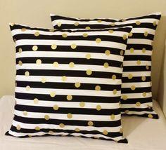 Set of 2 Black gold white stripe polka dot pillow covers shams 18 x 18 geometric #Handmade
