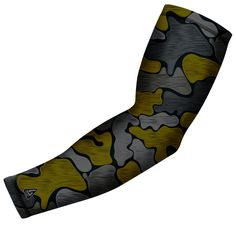 Yellow Brushed Camo Arm Sleeve by B-Driven Sports Compression Arm Sleeves, Fabric Design, Camo, Baseball Stuff, Yellow, Grey, Workout, Sports, Clothes