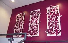 """Magnolia Panels"" Laser cut steel panels for York Hospital www.rebeccastoner.co.uk"