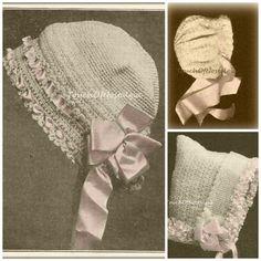4 FANCY Baby BONNETS Antique Crochet Patterns by touchofnostalgia7