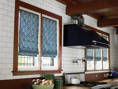 Blue patterned fabric #window #shades are crisp against white #subway #tiles