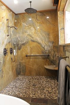 Tree House: Granite Slab Shower Surround, Donu0027t Like The Color But Like The  Slab Idea.