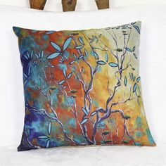 Colorful Linen Tree Pattern Decorative Pillowcase(Without Pillow Inner)