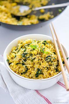 Vegan Tofu Scramble Kale Fried Rice Recipe on Yummly