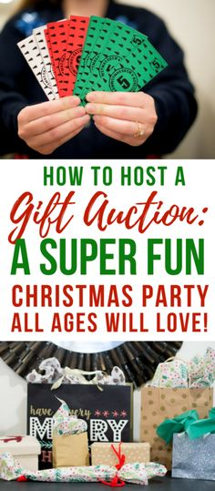 How to Do A Christmas Party Gift Auction-White Elephant Party Game! - How to Do A Christmas Party Gift Auction-White Elephant Party Game! Christmas Gift Exchange Games, Xmas Games, Holiday Games, Office Christmas Party Games, Christmas Party Activities, Christmas Games With Gifts, Company Christmas Party Ideas, Office Christmas Gifts, Office Gift Exchange Ideas
