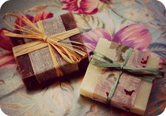 fabric wrapped favours | My Soap Images | Pinterest