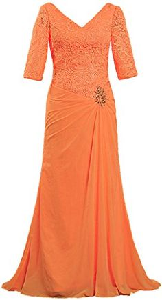 c90d1b2dab8 ANTS Women s V Neck Lace Sleeve Evening Mother of The Bride Dresses Size  20W US Orange