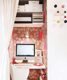 See our 19 favorite home office ideas for small mobile homes. You don't have to have a lot of space to create a nice home office. Closet Desk, Closet Office, Office Nook, Office Spaces, Closet Space, Hall Closet, Basement Closet, Deep Closet, Entry Closet