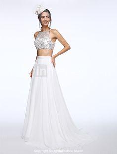 Lanting Bride® Linha A Vestido de Noiva Cauda Escova Canoa Chiffon com Miçanga / Paetês de 2016 por R$473.17