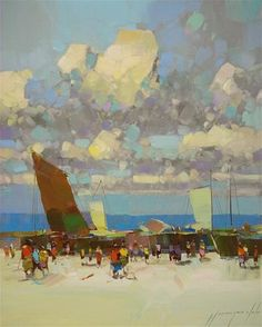 """Daily Paintworks - """"Sail Boats, Original oil painting by palette knife, one of a kind"""" - Original Fine Art for Sale - © V Yeremyan"""