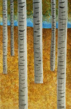 "Birch Tree Art inspired by ""Forest of Birch Trees, 1902, Gustav Klimt"