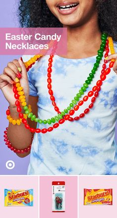 Candy is a colorful, crafty way to decorate. Starburst jellybeans and a kid-safe sewing kit add a simple, fun DIY necklace activity to the Easter Season. Easter Activities, Easter Crafts For Kids, Diy For Kids, Spring Crafts, Holiday Crafts, Holiday Fun, Hoppy Easter, Easter Bunny, Easter 2020