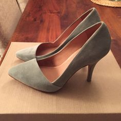 Madewell Mira Heel Color is frosted willow. Worn a couple times but my foot is too wide. Suede material. Like new condition. Madewell Shoes Heels