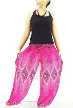 Women Harem Pants Yoga Pants Aladdin Pants by LuckyGirlShop Pink Trousers, Harem Trousers, Pink Yoga Pants, Trousers Women, Pants For Women, Clothes For Women, Gypsy Pants, Boho Pants, Hippie Pants