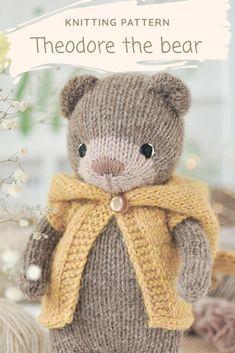 Teddy Bear Knitting Pattern, Knitting Patterns Free Dog, Knitted Teddy Bear, Crochet Bear, Knitting For Kids, Loom Knitting, Knitting Projects, Crochet Toys, Hand Knitting