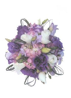 Posy style wedding bouquet with white roses, lavender hydrangea, dark purple and light purple freesia accented by loops of bear grass throughout. floral@kuhlmanns.com