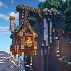 Minecraft Mountain House, Minecraft House Plans, Minecraft Cottage, Cute Minecraft Houses, Minecraft Castle, Minecraft House Designs, Amazing Minecraft, Minecraft Blueprints, Minecraft Creations