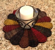 Primitive Wool Penny Rugs Dresden Plate Votive Candle Mat HM | eBay started at $17.  Love it!!