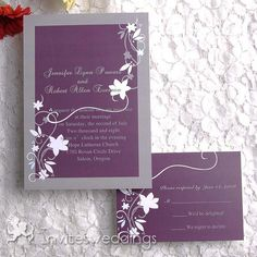 Plum Background With White Floral Wedding Invitation IWI128