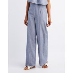Charlotte Russe Striped High-Rise Palazzo Pants ($27) ❤ liked on Polyvore featuring pants, denim, stripe pants, high waisted palazzo pants, flared palazzo pants, high-waisted trousers and striped palazzo pants