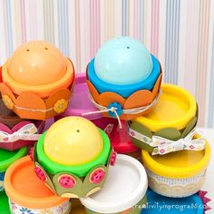 Mini Play-Doh Covers » Make into cupcakes and use as party favors. Creativity in progress