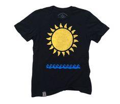 Sun & Waves: Organic Fine Jersey Short Sleeve T-Shirt in Black