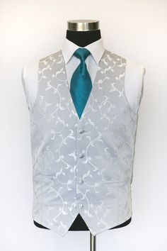 Sinartra Silver Waistcoat with Blue Tie Wedding Waistcoats, Blue Ties, Vest, Groom, Silver, Jackets, Weddings, Collection, Dresses