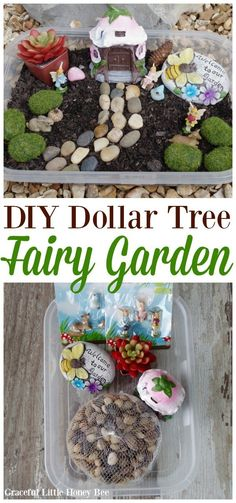 Try this super simple DIY Dollar Tree Fairy Garden for a fun kids craft project that the whole family is sure to enjoy! #crafts #kidscrafts #kidscraftroom #kidscrafts101 #springcrafts #springcraftsforkids #fairygardening #fairygarden #fairygardenideas #dollartree #dollartreecrafts #dollartreediy