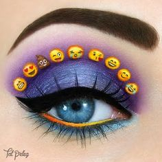 Dazzling shimmery purple and blue smokey eyes topped with animated emoticons form an enchanting upbeat look. Draw inspiration from these essentials to recreate this witty gaze.