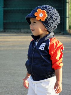 Crochet Baby Hat Detroit Tigers hat crochet by JuneBugBeanies
