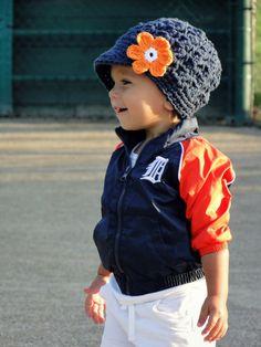 Crochet Baby Hat Detroit Tigers hat crochet by JuneBugBeanies