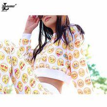 Yellow Expression 2016 Women Sports Suit Set Crop Tops Pullover Sudaderas Hoodies Sweatshirt Casual Harajuku Tracksuit F1369(China (Mainland))